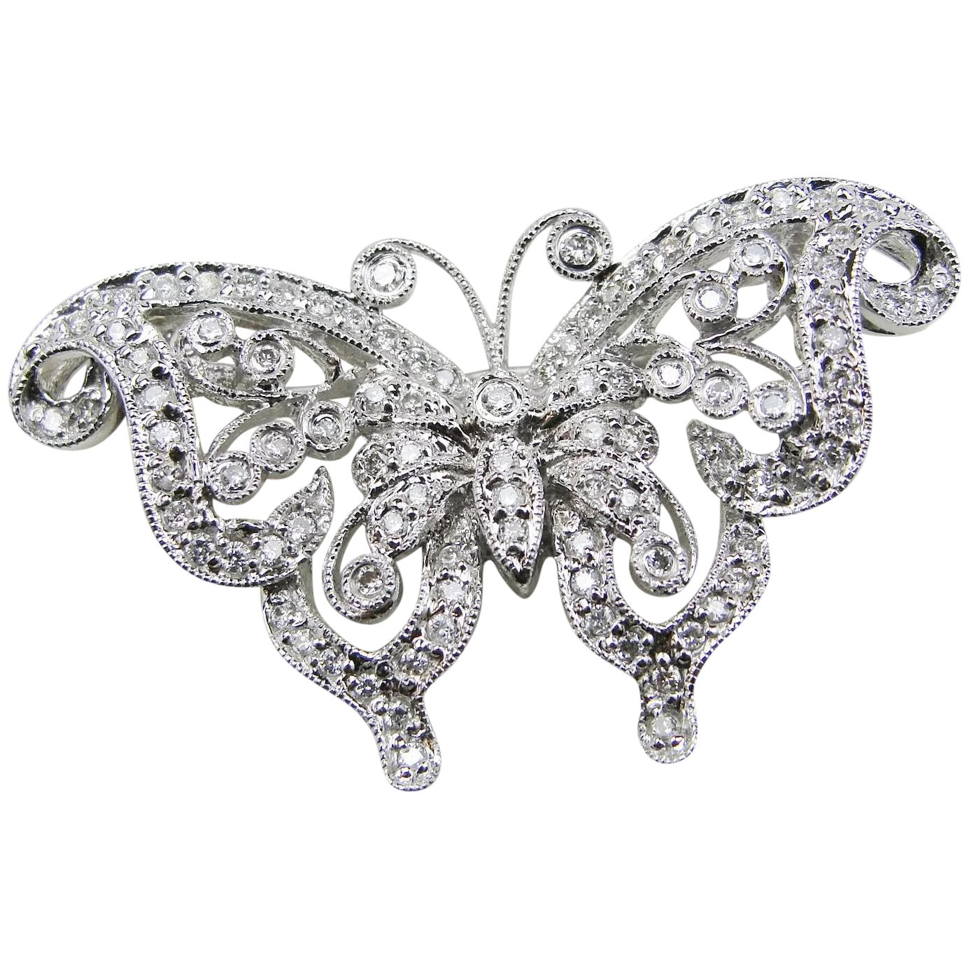 1385x1385 Vintage 14k White Gold Filigree Diamond Butterfly Pinrooch, 2ct