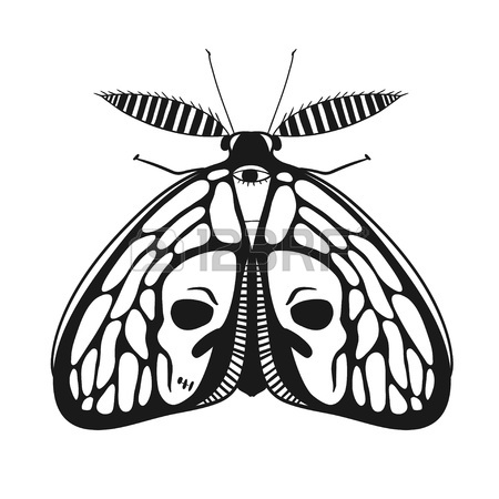 450x450 Vintage Style Illustration With Deads Head Butterfly, Mystic