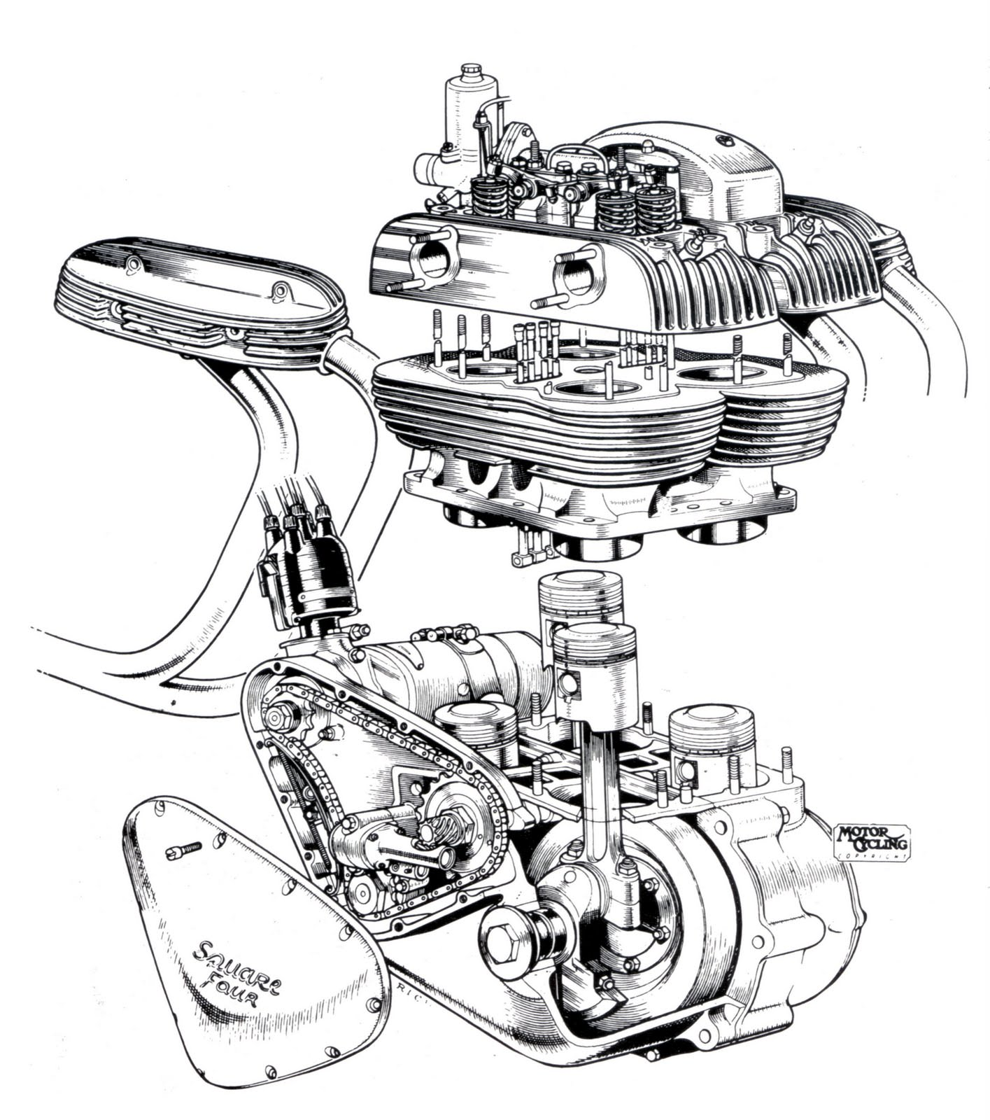 1415x1600 Ariel Square Four Wallpaper Ariel, Engine And Cutaway