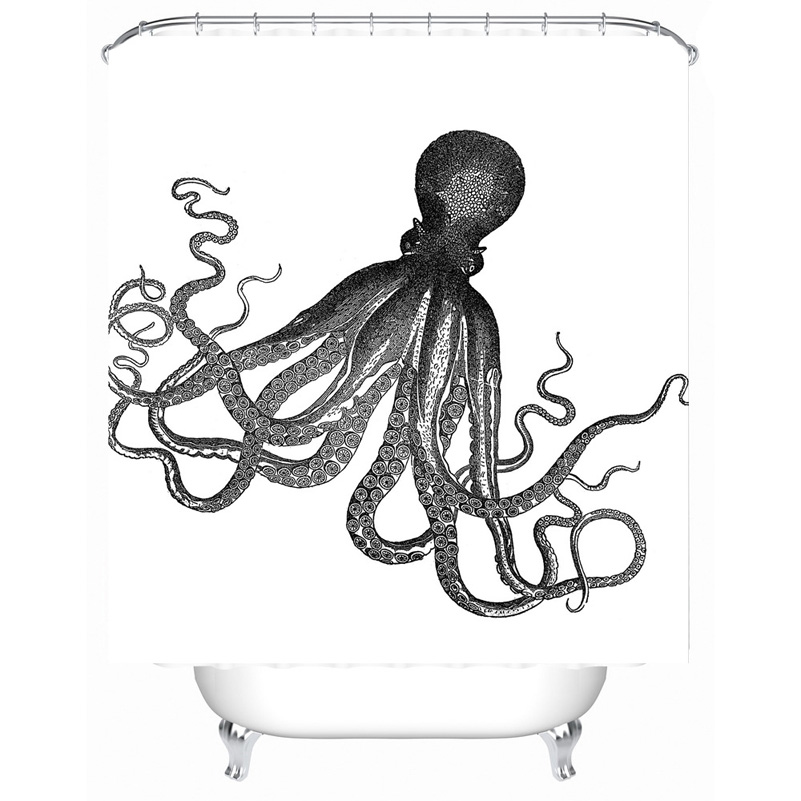 801x801 Fabric Polyester Vintage Octopus Waterproof Seascape Shower