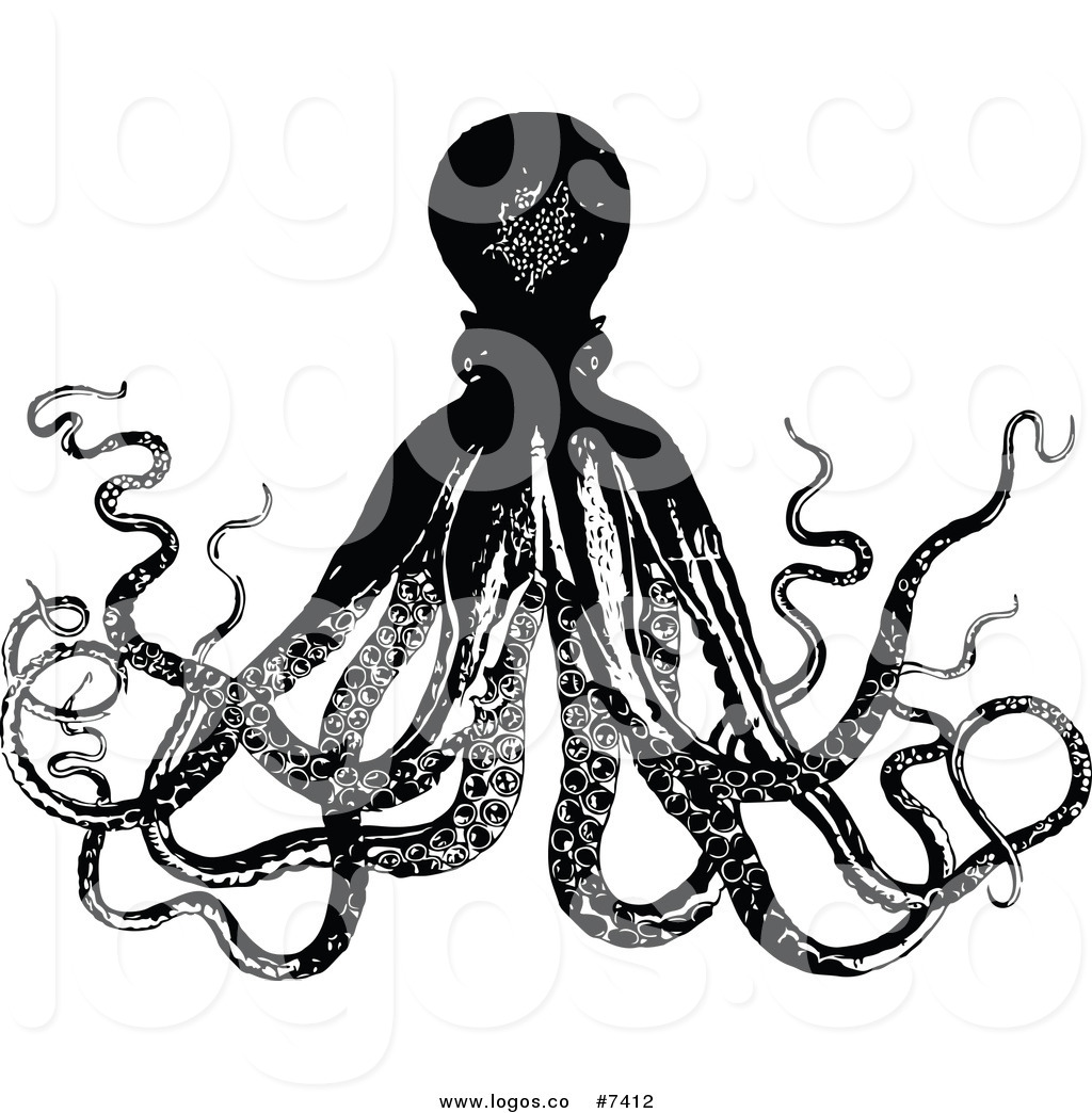 1024x1044 Royalty Free Clip Art Vector Logo Of A Black And White Octopus By