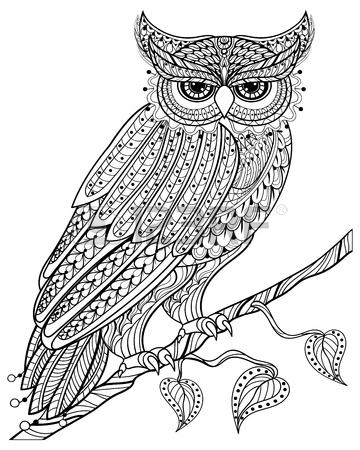 360x450 Vector Ornamental Owl, Ethnic Zentangled Mascot, Amulet, Mask