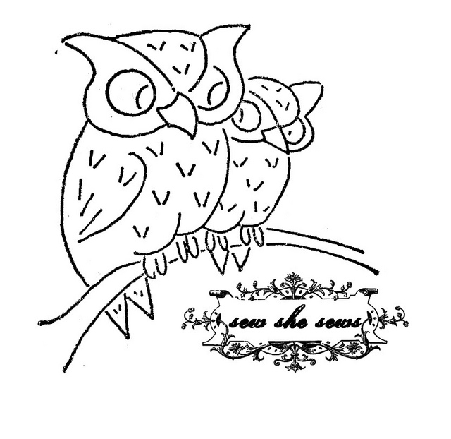 640x622 Vintage Owls Embroidery Pattern Owl Embroidery, Vintage Owl And Owl