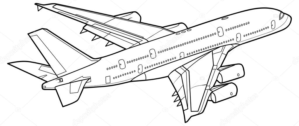 1024x432 Sketch Plane Stock Vector Kopirin