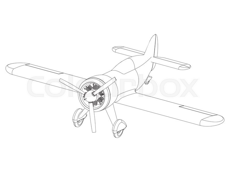 800x600 Vector Isolated Propeller Plane Drawing. Clip Art Stock Vector