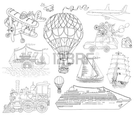 450x392 Vintage Card With Old Plane And Banner, Hand Drawn Illustration