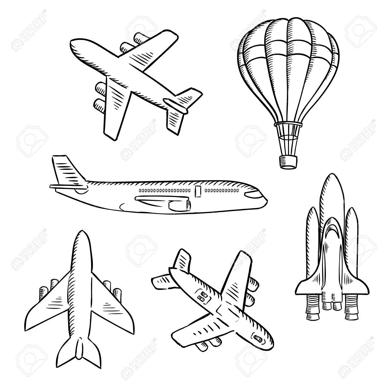1300x1300 Air Transport Sketches With Jet Airplane, Cargo Planes, Vintage