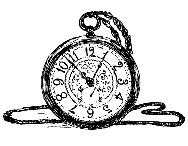 Vintage Pocket Watch Drawing