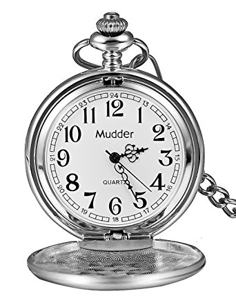 342x442 Mudder Classic Smooth Vintage Steel Mens Pocket Watch