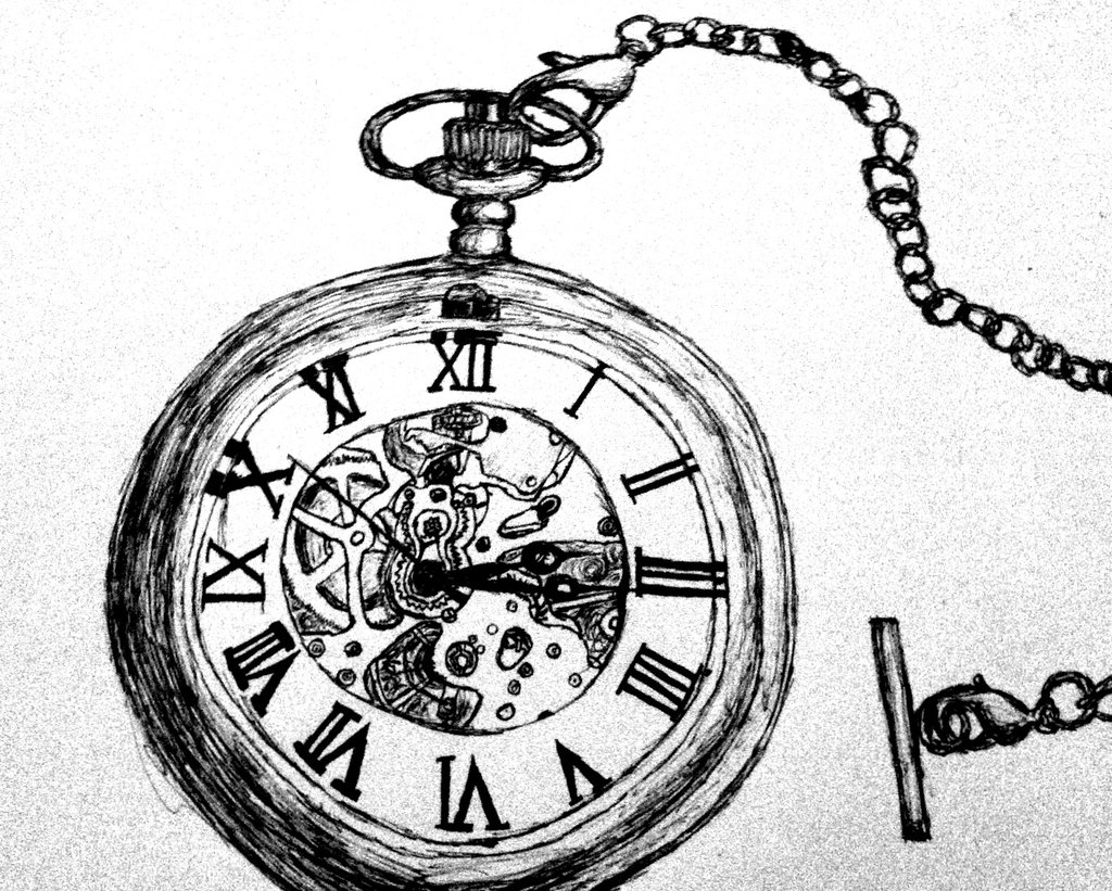 1024x821 Pocket Watch Pen Drawing By