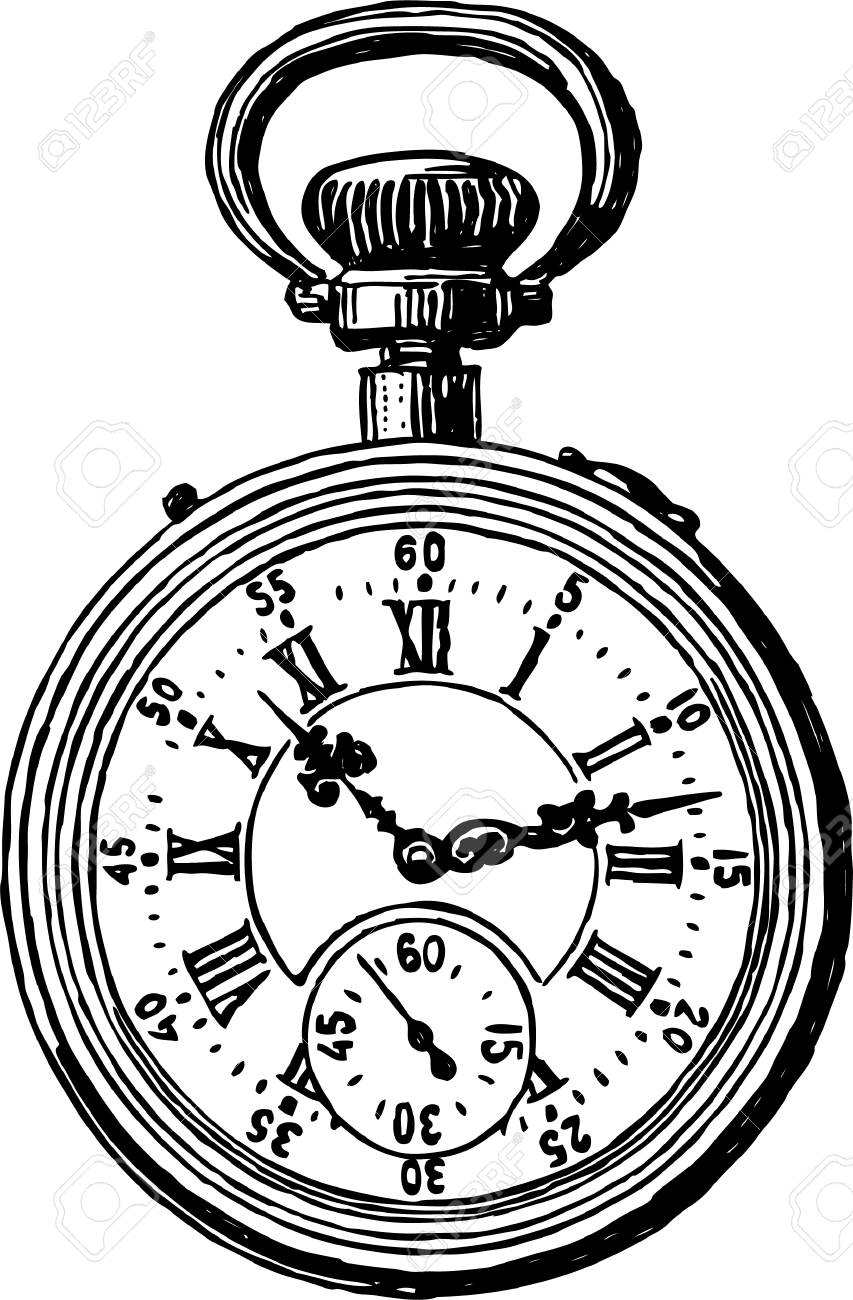 853x1300 Vector Drawing Of A Vintage Pocket Watch Royalty Free Cliparts