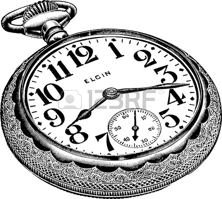 450x403 An Antique Engraved Illustration Of A Pocket Watch Isolated