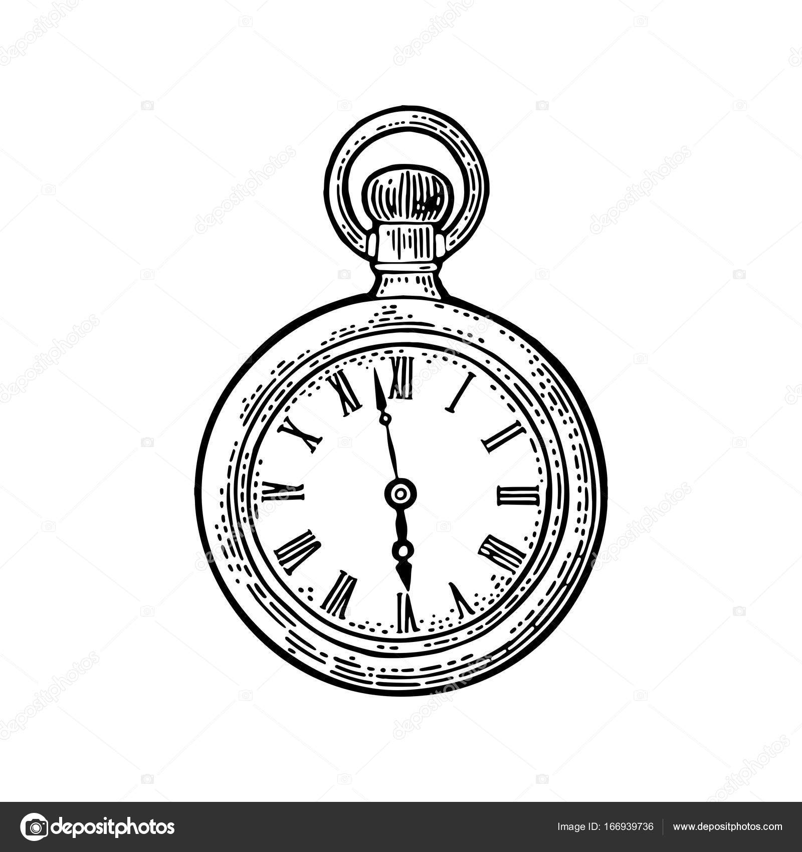 1600x1700 Antique Pocket Watch. Vector Vintage Engraved On White Background