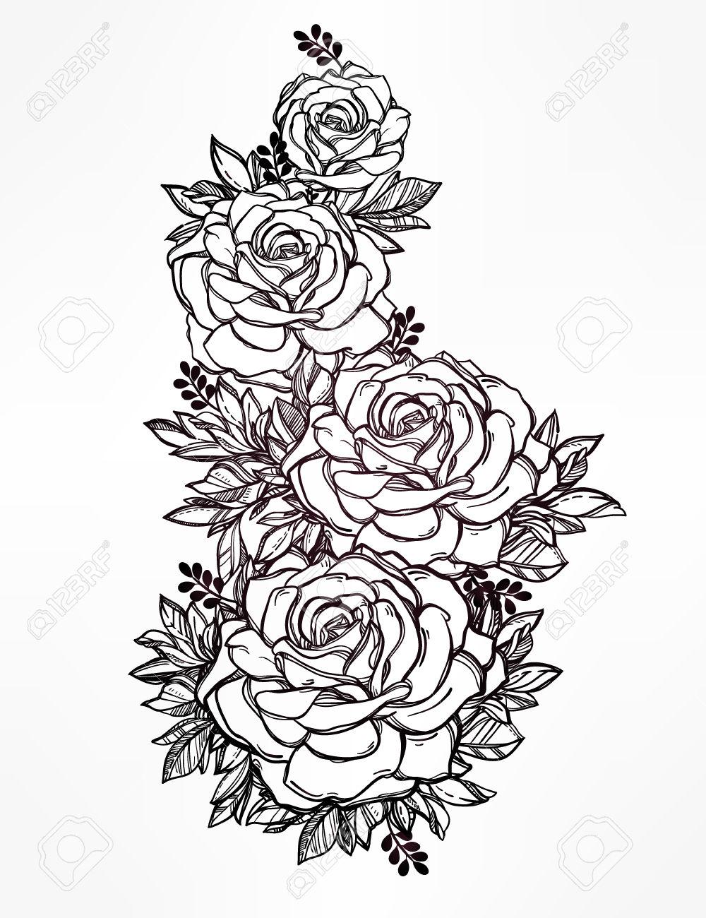 1000x1300 48005636 Vintage Floral Highly Detailed Hand Drawn Rose Flower