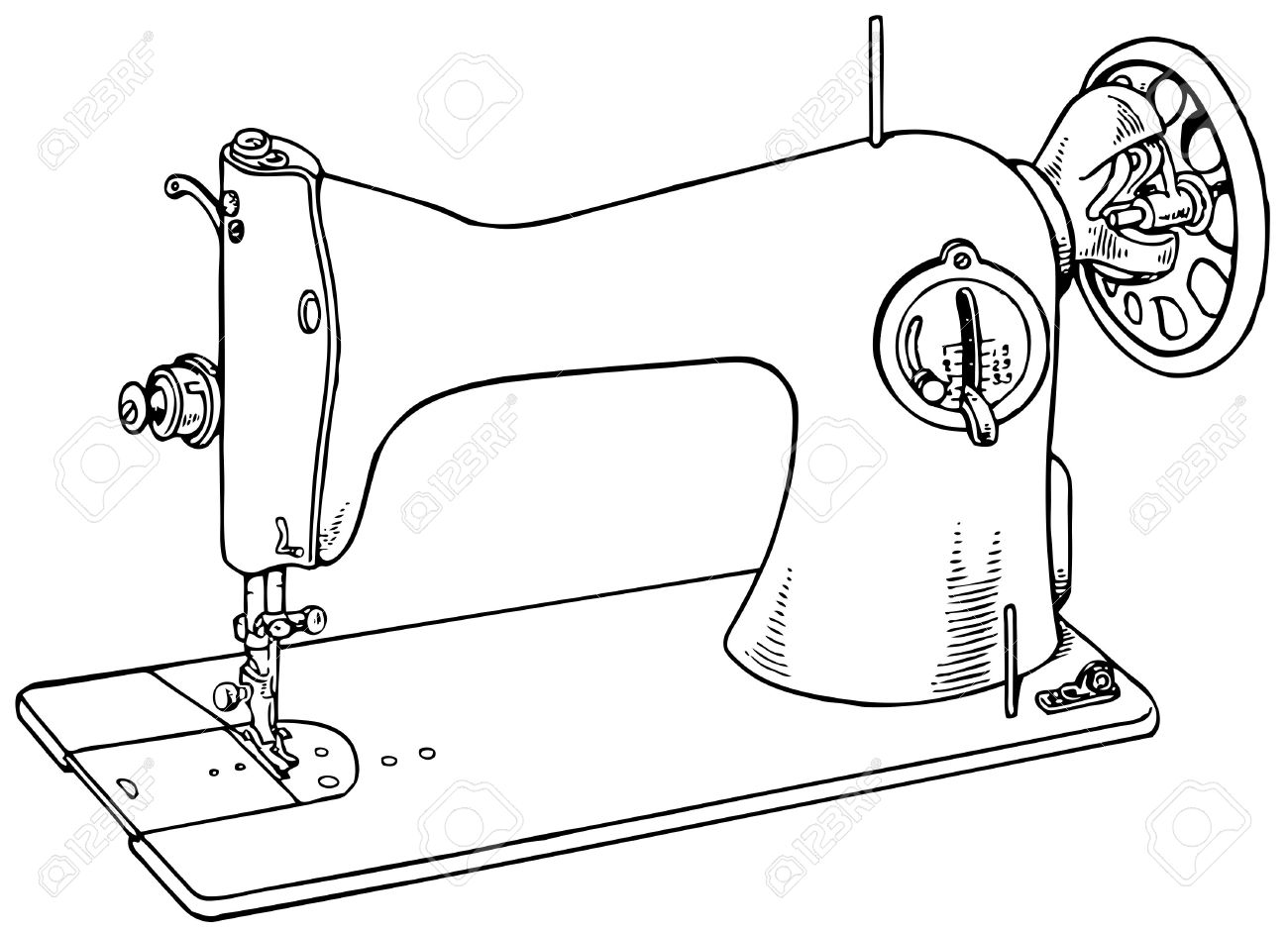Vintage Sewing Machine Drawing At Free For Diagram Car Interior Design 1300x941 Isolated On White Background Royalty Cliparts