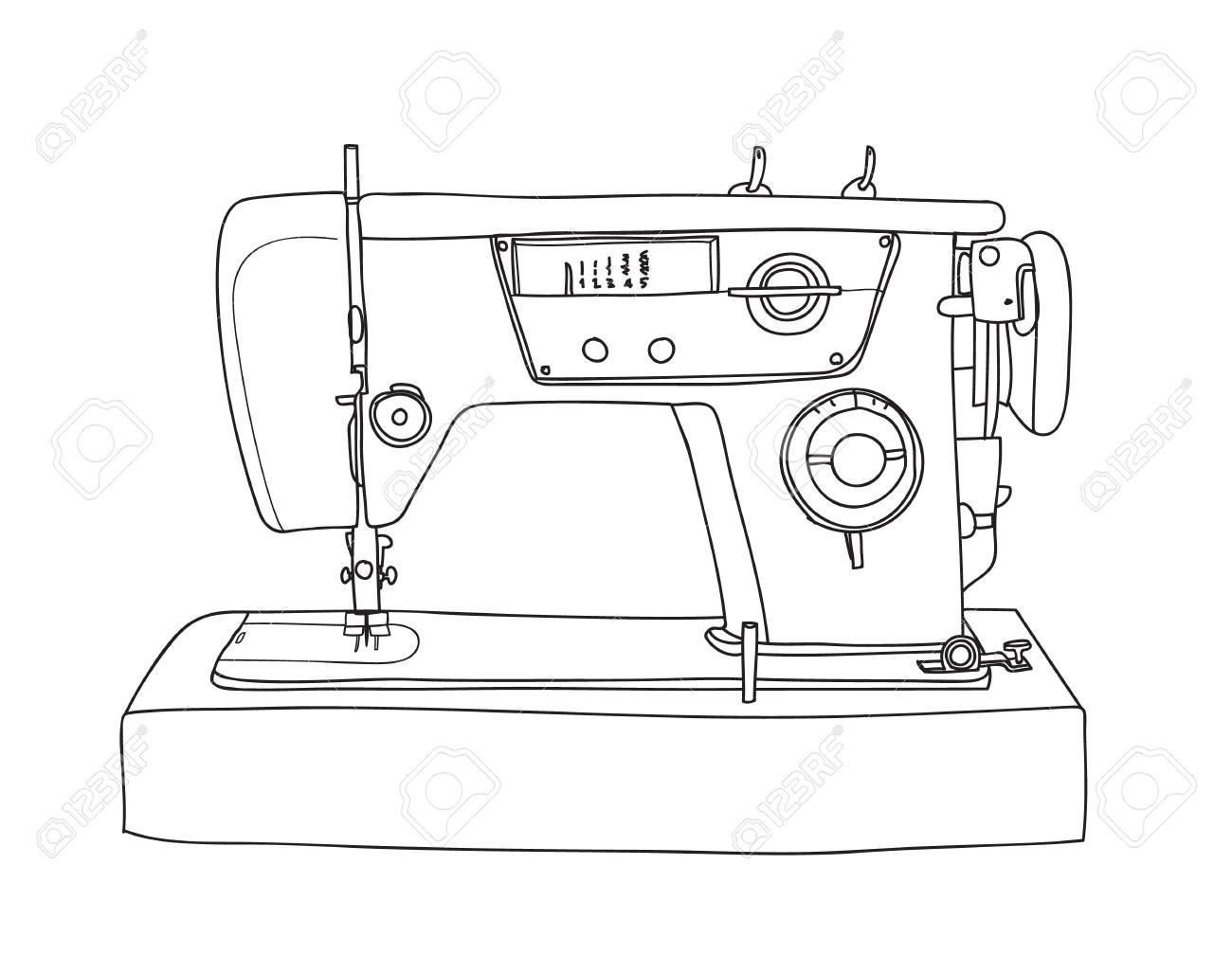 1300x1008 Sewing Retro Machine Cute Vintage Hand Drawn Vector Line Art