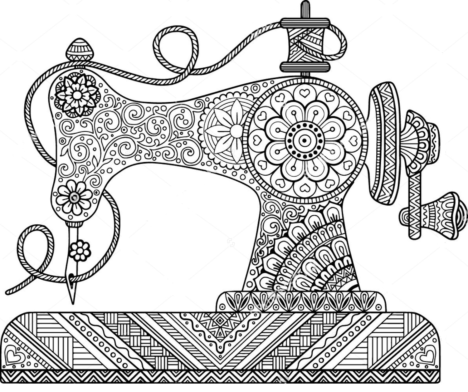 1500x1256 Sewing Machine Zentangle Coloring Page Front Door Ideas