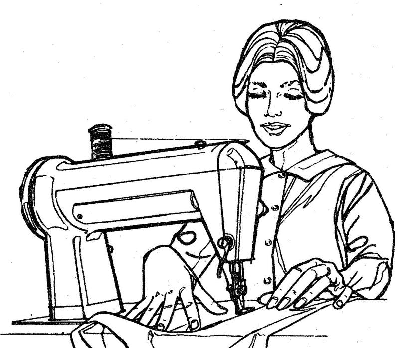 800x698 Sewing Clipart Black And White
