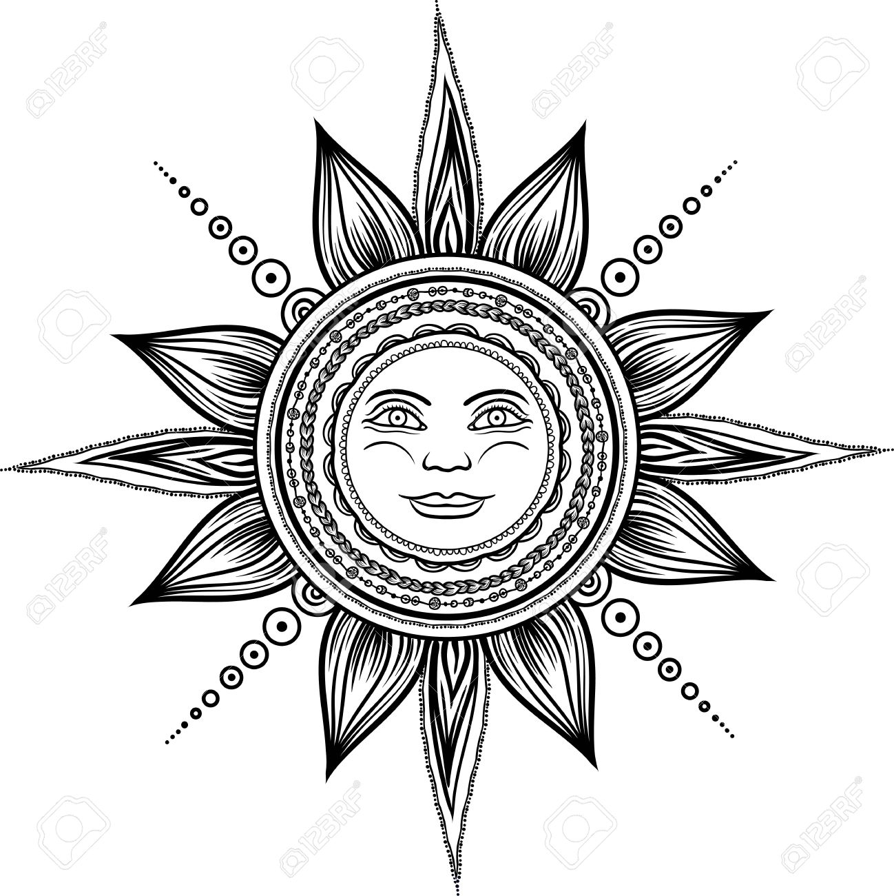 1298x1300 Vintage Hand Drawn Sun Eclipse. Mehendi Zentangle Boho Chic Line
