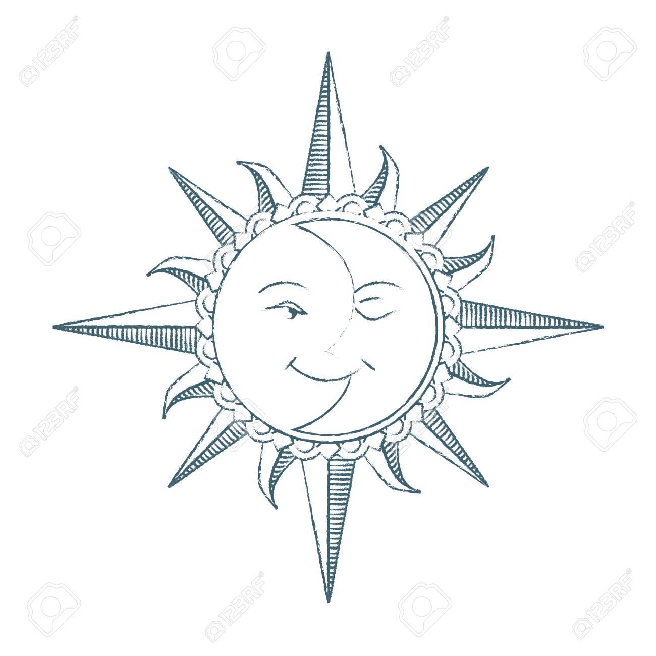 1300x1300 Vintage Style Hand Drawn Sun And Moon. Alchemy Symbol. Tattoo