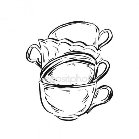 450x450 Card With Sketched Cute Teapot For Menu Design Or Web Template