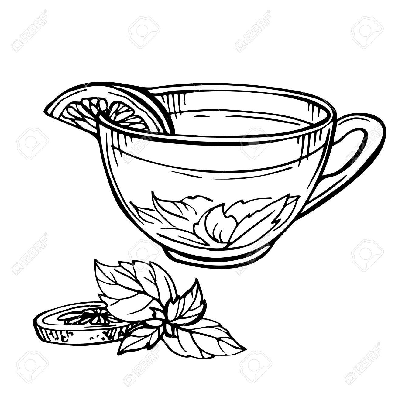 1300x1300 Hand Drawn Sketch Of Tea. Cup Of Tea With Mint And Lime, Lemon