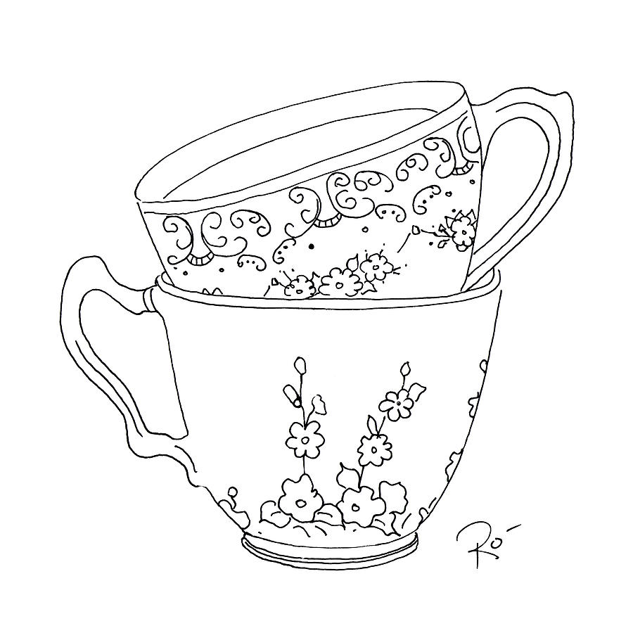 900x900 Teacup Sweethearts Drawing By Roisin O Farrell