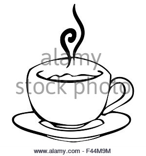 300x320 Sketch Draw Cup Coffee Tea Chocolate Stock Vector Art