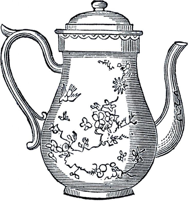 Vintage Teapot Drawing
