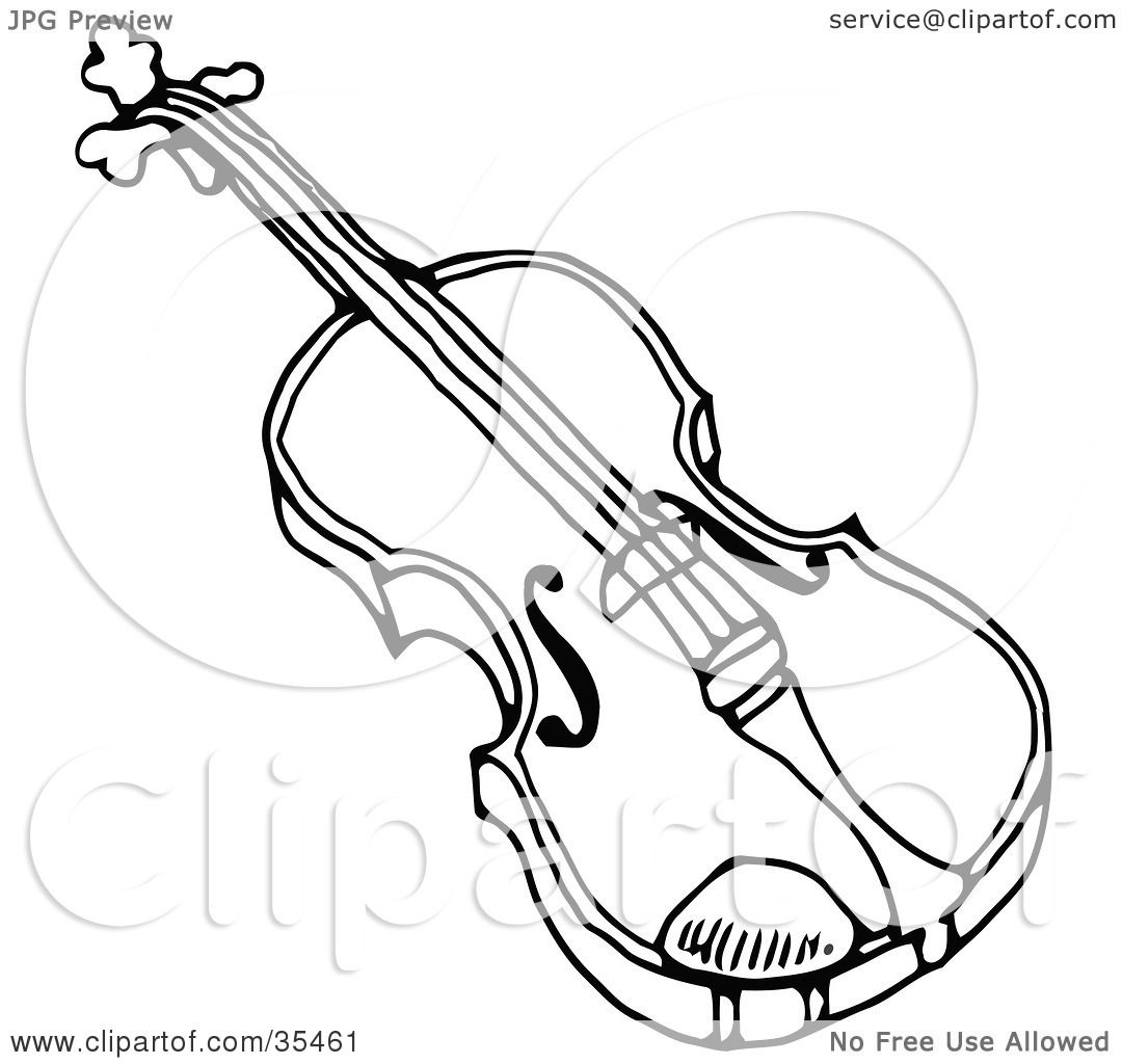 1080x1024 Clipart Illustration Of A Black And White Violon Or Viola