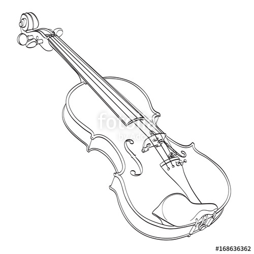 500x500 Violin Outline Drawing On White. Hand Drawn Contour Line Of Wooden