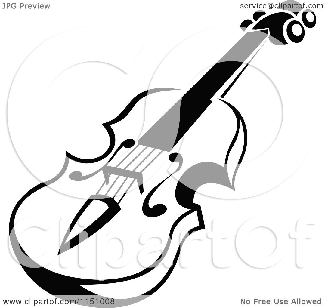 1080x1024 Clipart Of A Black And White Viola Or Fiddle Violin 5