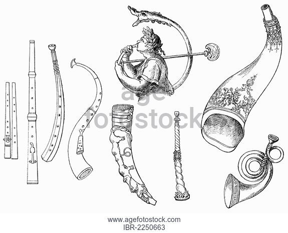 575x466 Historical Drawing, Various Stringed Instruments, Old Forms