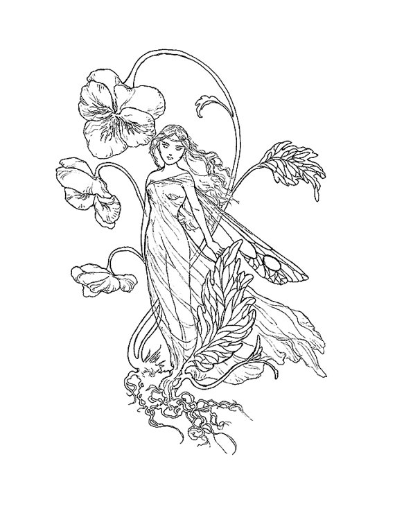 570x740 Pansies Fairy Ink Drawing Coloring Page Instant Download