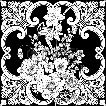 450x450 Seamless Pattern With Daffodils, Anemones, Violets In Botanical