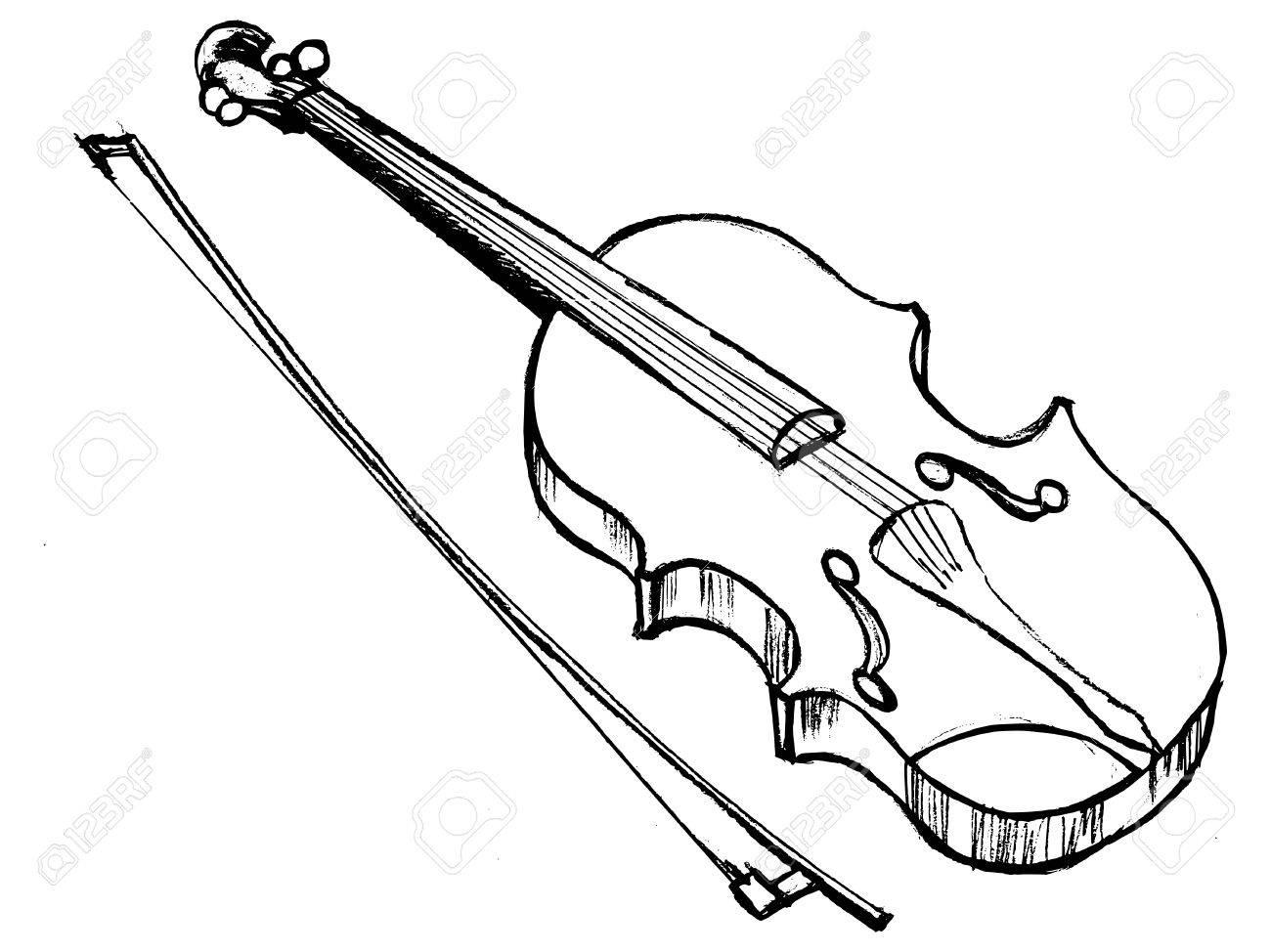 1300x974 Hand Drawn, Sketch Illustration Of Violin Royalty Free Cliparts