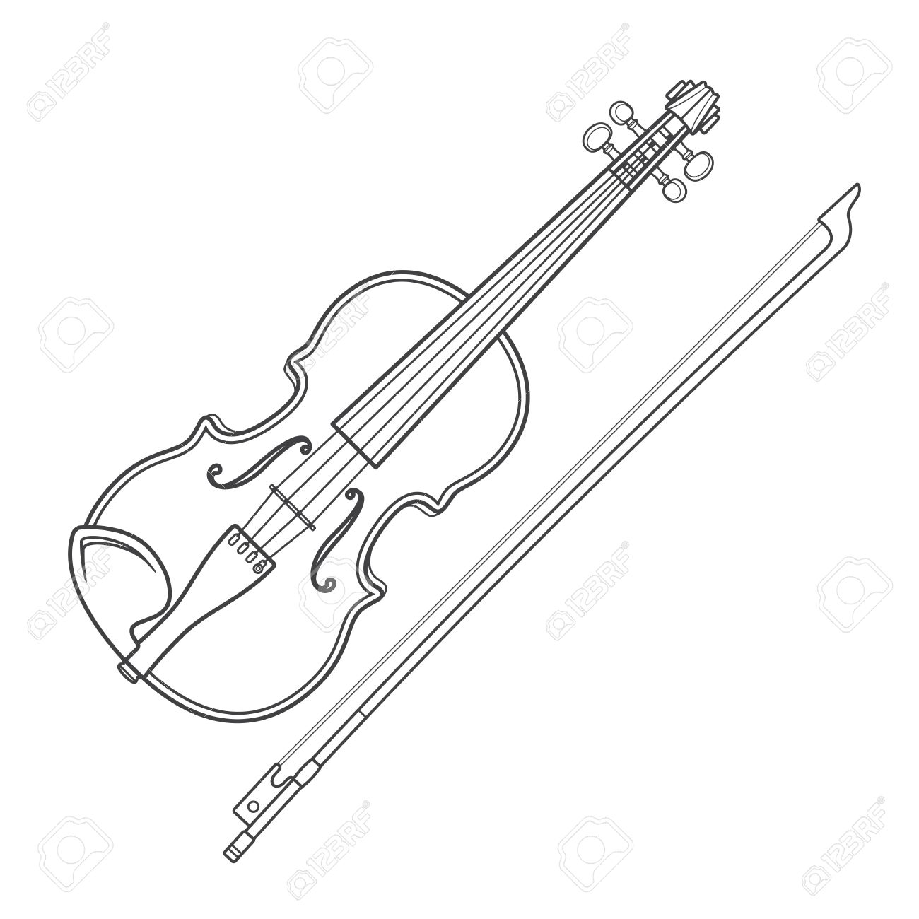 1300x1300 Vector Grey Outline Vector Violin Fiddle Bow On White Background