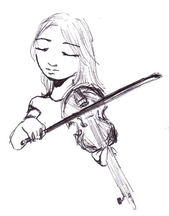 548x700 Violin Sketch By Linglei