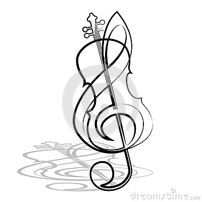 400x400 Black And White Violin And Bow Graphics