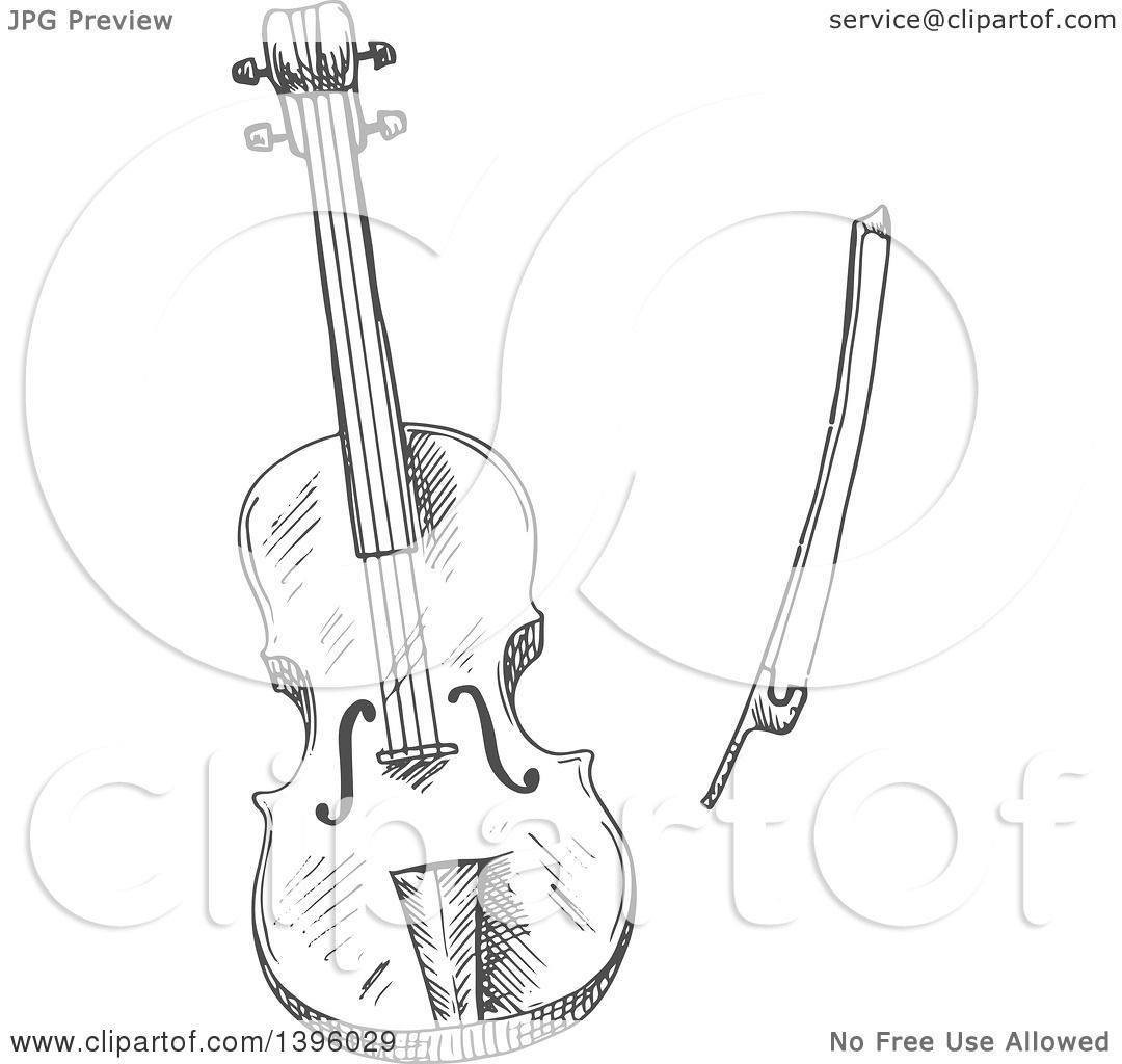 1080x1024 Clipart Of A Gray Sketched Violin And Bow