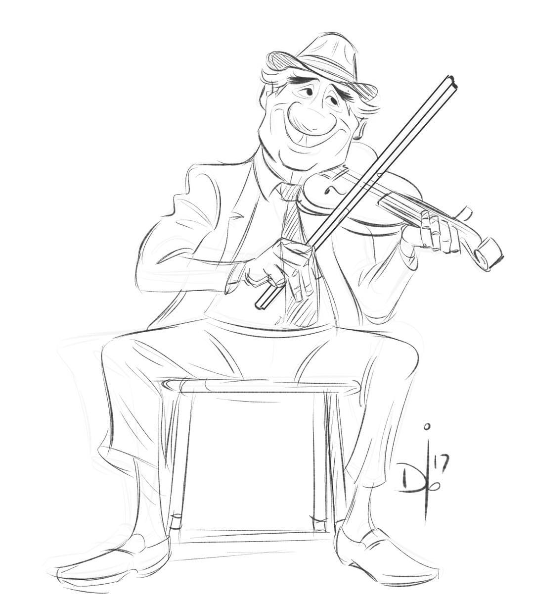 Violin Cartoon Drawing
