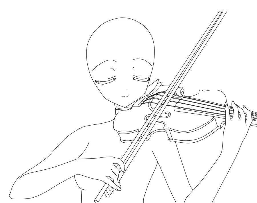 900x713 Anime Girl, Playing, Violin How To Draw Mangaanime