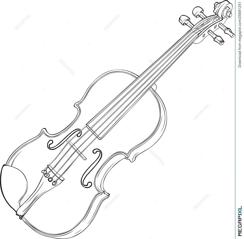 818x800 Violin Drawing Illustration 25681251