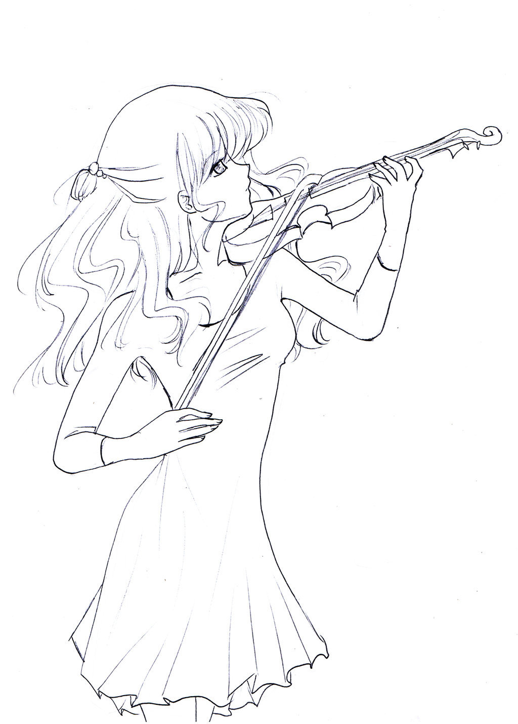 1024x1430 Anime Girl Playing Violin Drawing Girl Playing Violin Clip Art