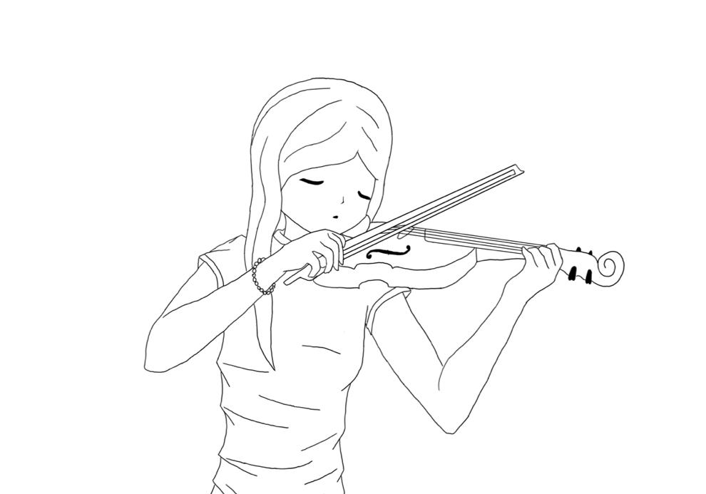 990x693 Anime Girl Playing Violin Drawing Girl Playing Violin Clip Art