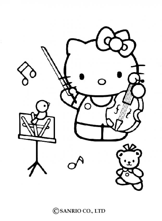 622x850 Hello Kitty Playing The Violin Coloring Pages