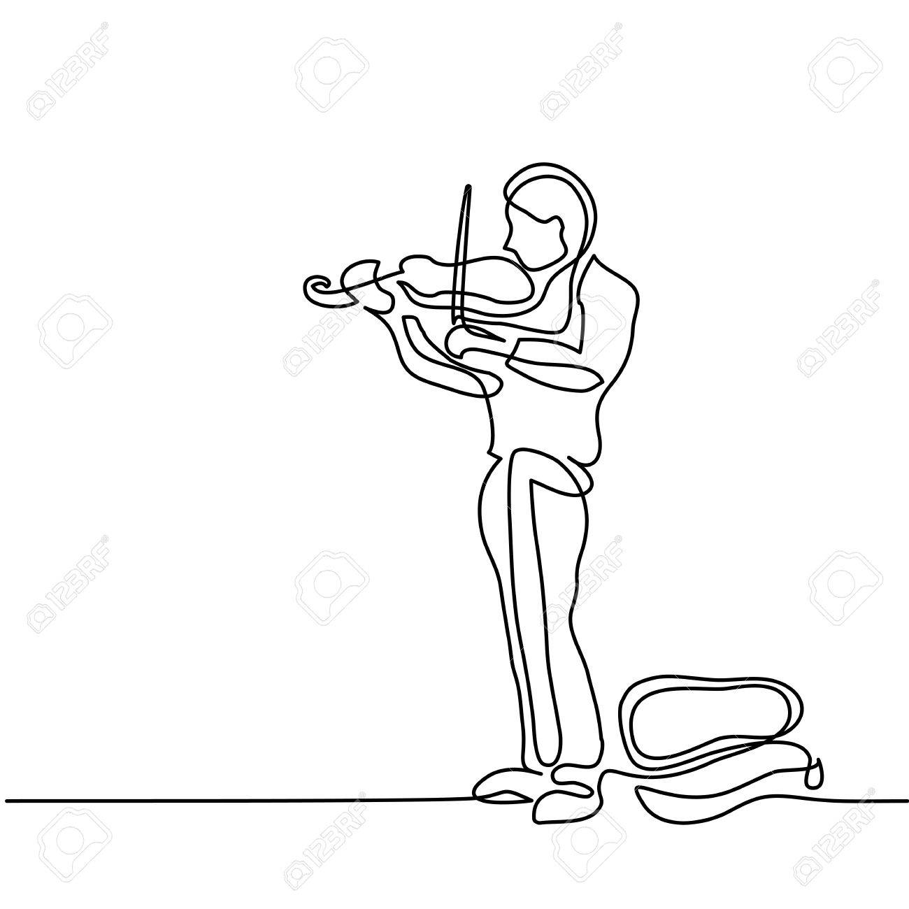 1300x1300 Street Musician Man Playing The Violin. Continuous Line Black