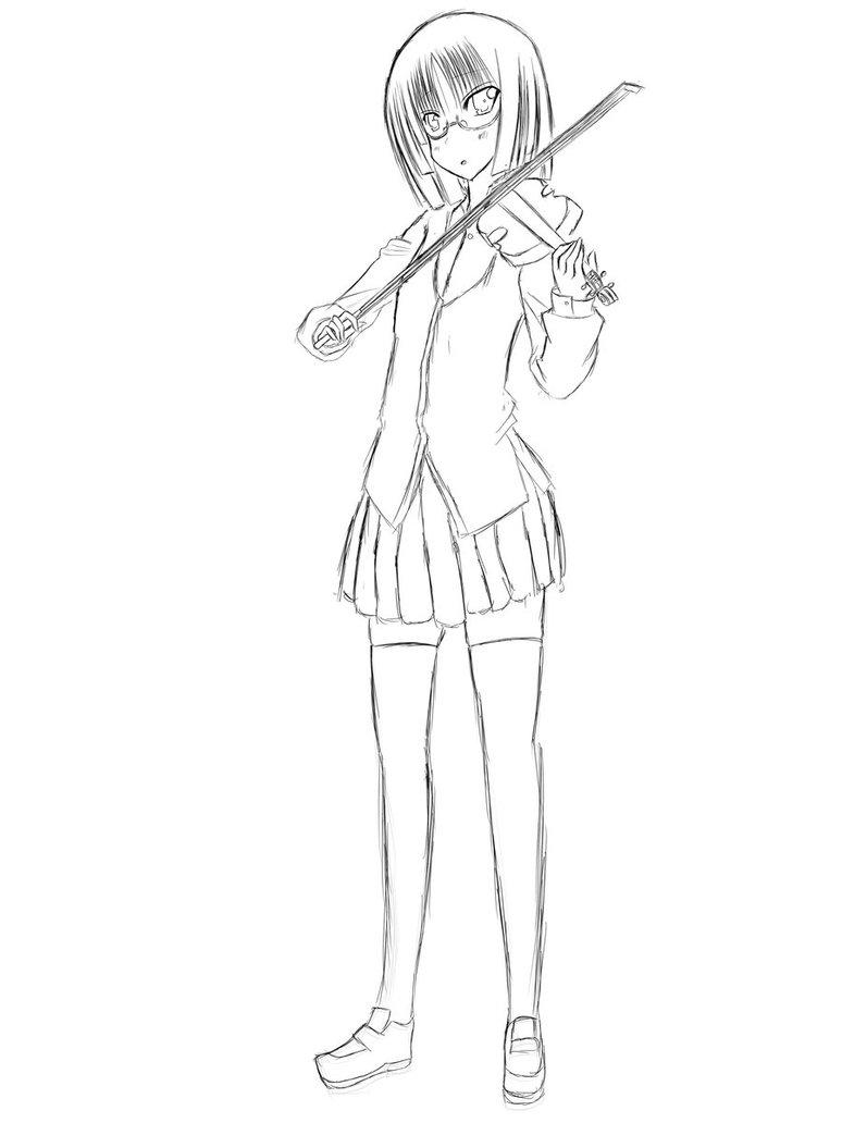 774x1032 Violin Girl (Sketch Form) By Theotaku143110