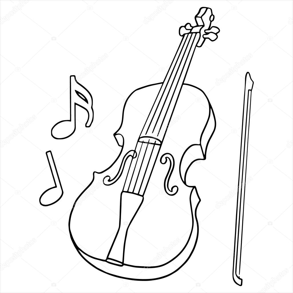 1024x1024 Violin With Fiddle Stick On A White Background Without Color