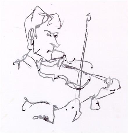 440x456 Zach Brock Violin Ink Drawing Jazz Musician Chris Carter Artist